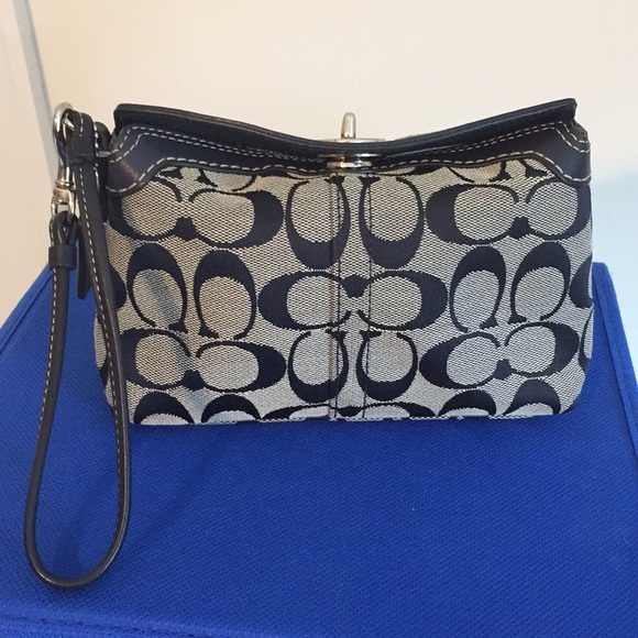 7ad4e0292b Coach Bags | Signature Large Wristlet Navy Blue Leather | Poshmark